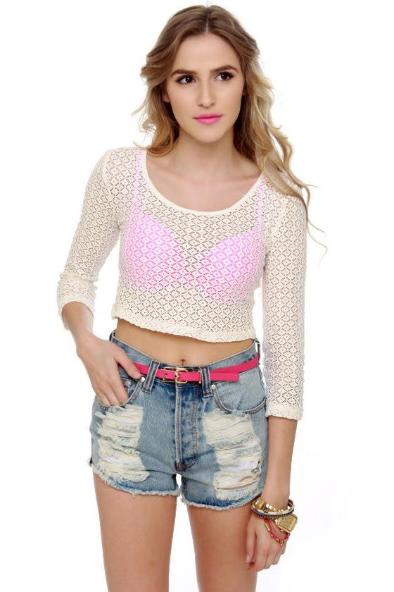 Mink Pink Valerie Sheer Lace Crop Top