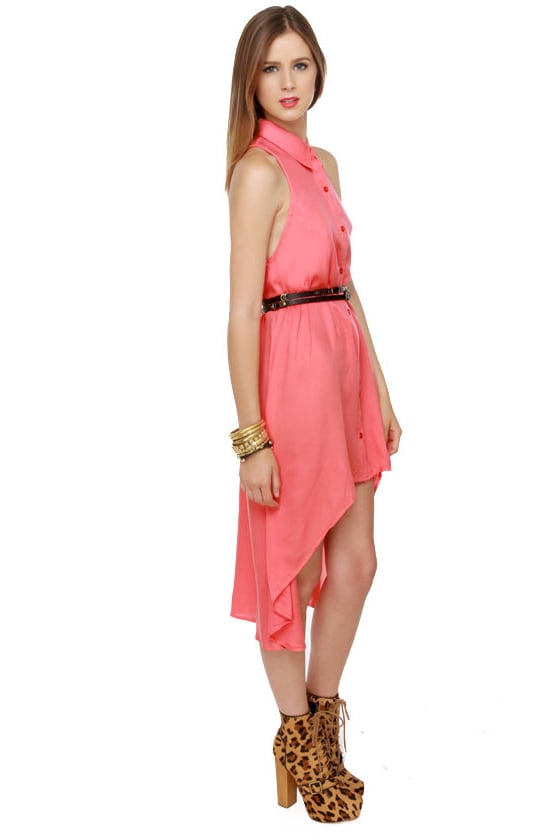 Mink Pink First Love Coral Shirt Dress