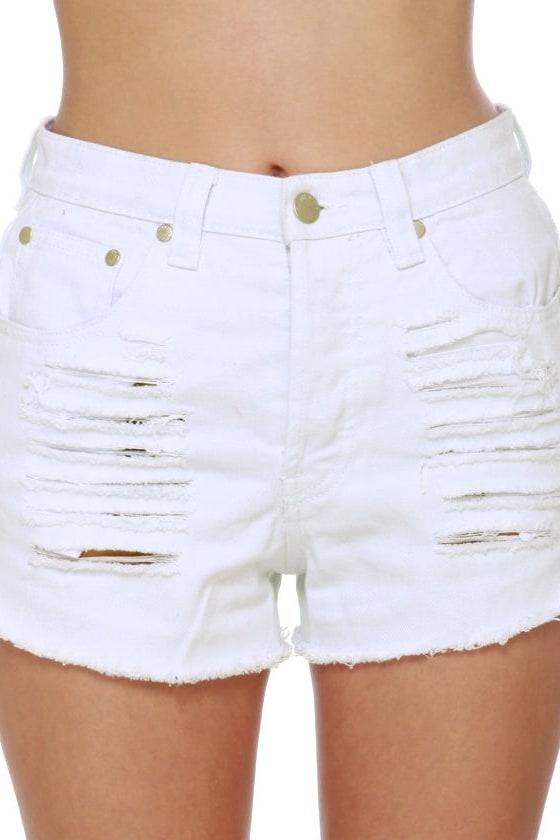 Mink Pink Slasher Flick White Cutoff Jean Shorts