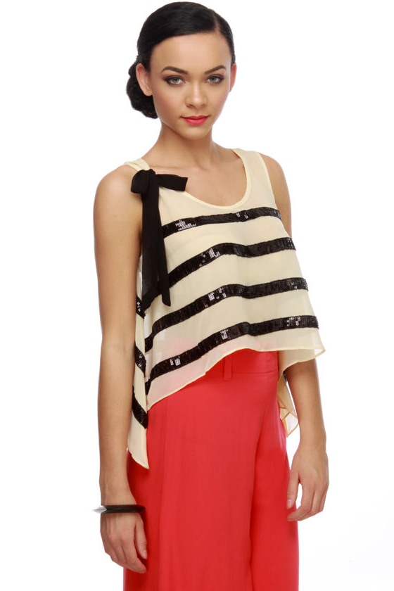 Silent Movie Star Striped Sequin Top