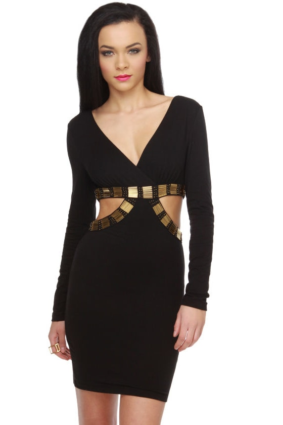 On the Side Beaded Black Dress