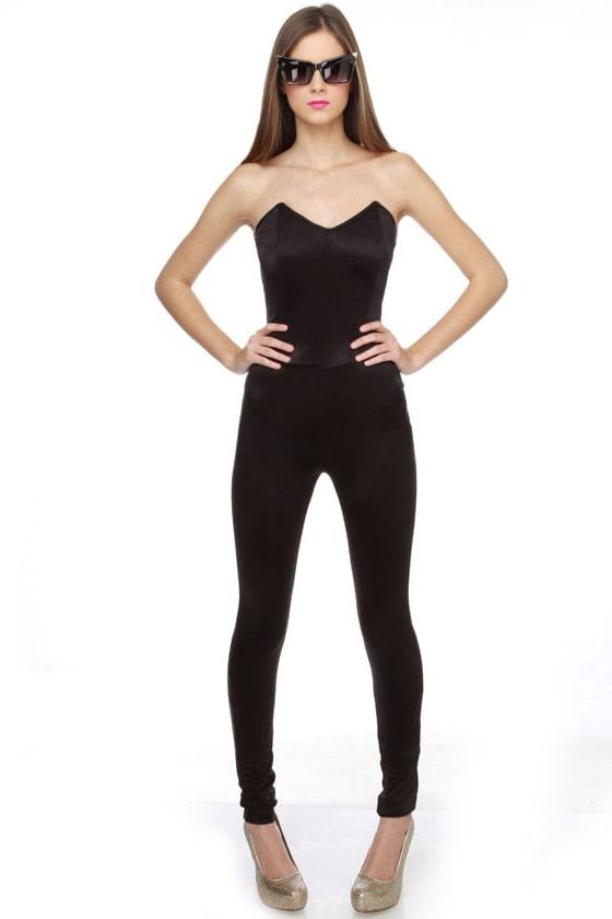 Talk That Talk Strapless Black Jumpsuit