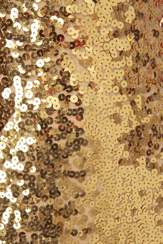 Glitter-Chatter Gold Sequin Dress