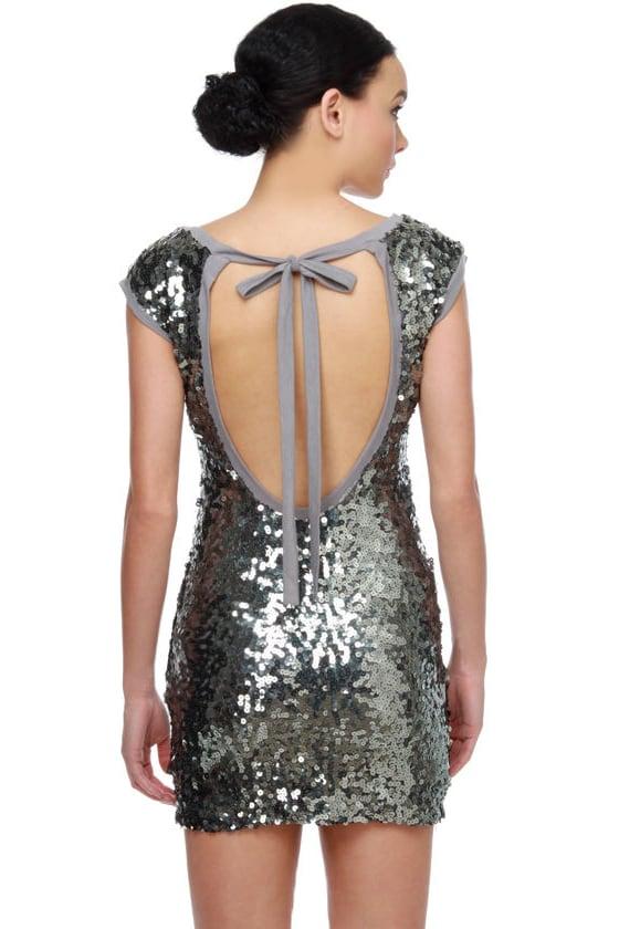 Glitter-Chatter Silver Sequin Dress