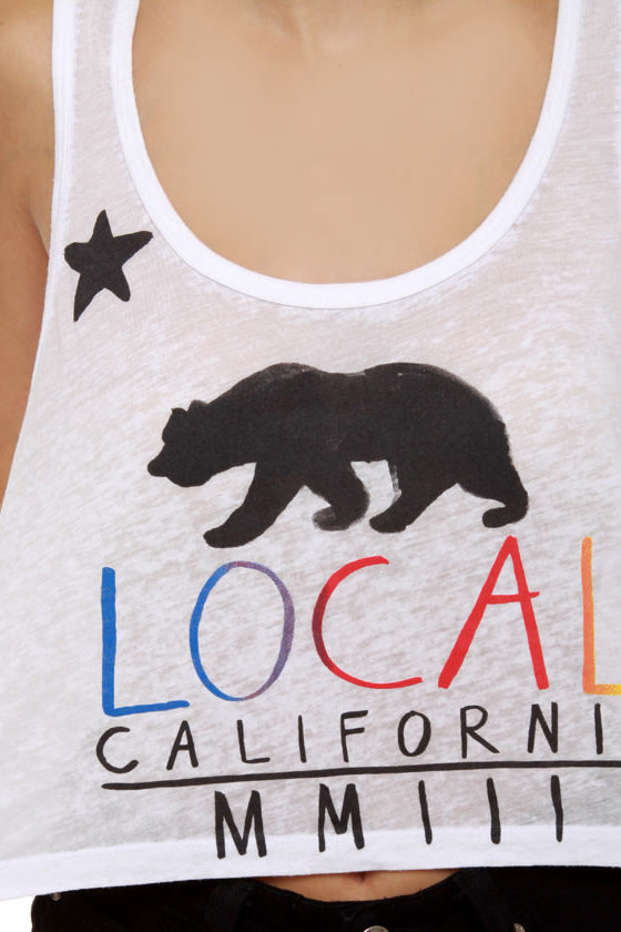 Local Celebrity Local Bear White Crop Top