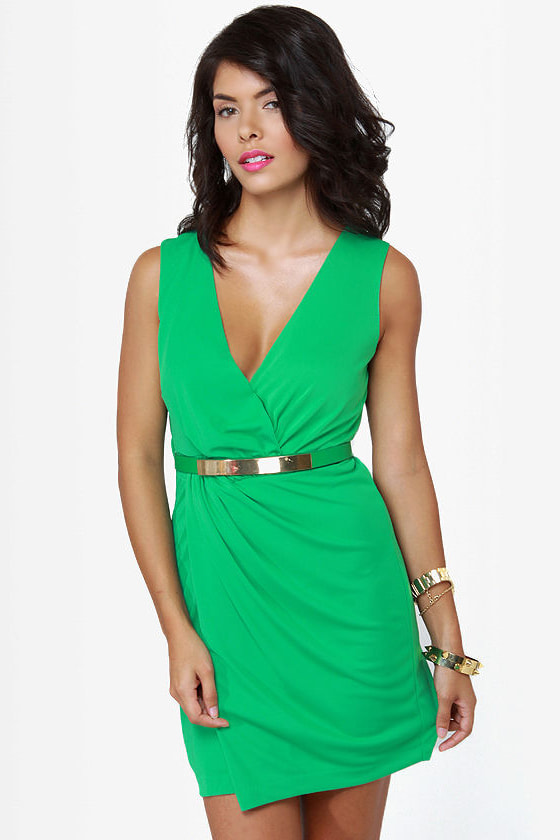 Chip Off the Gold Block Belted Green Dress