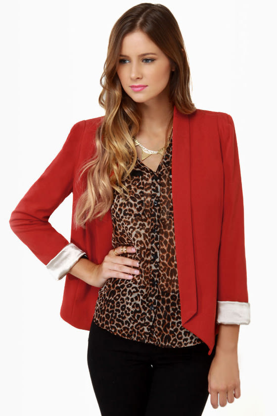 Make It a Date Rust Red Blazer