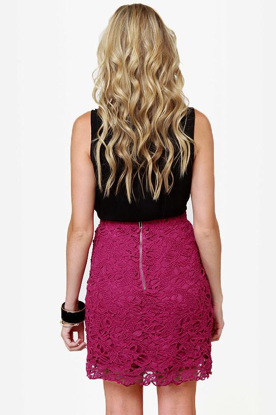 Romantic Getaway Magenta Lace Skirt