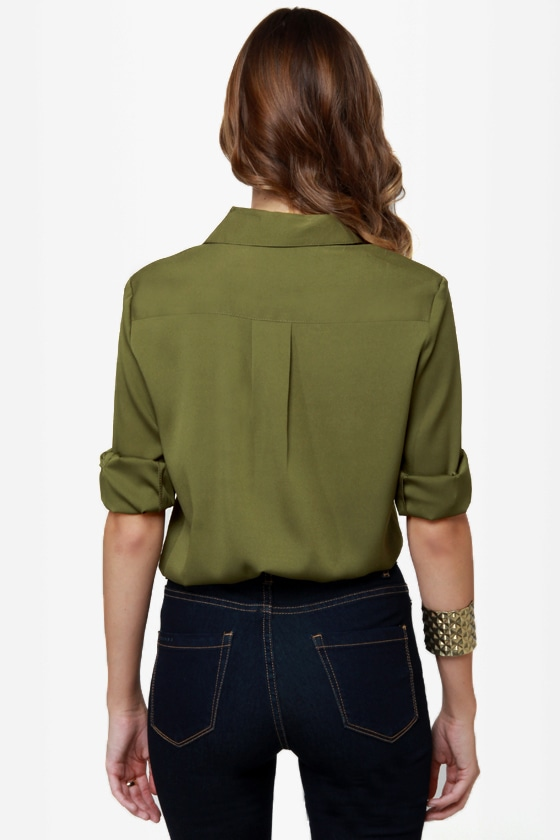 Daily Grind Olive Green Button-Up Top