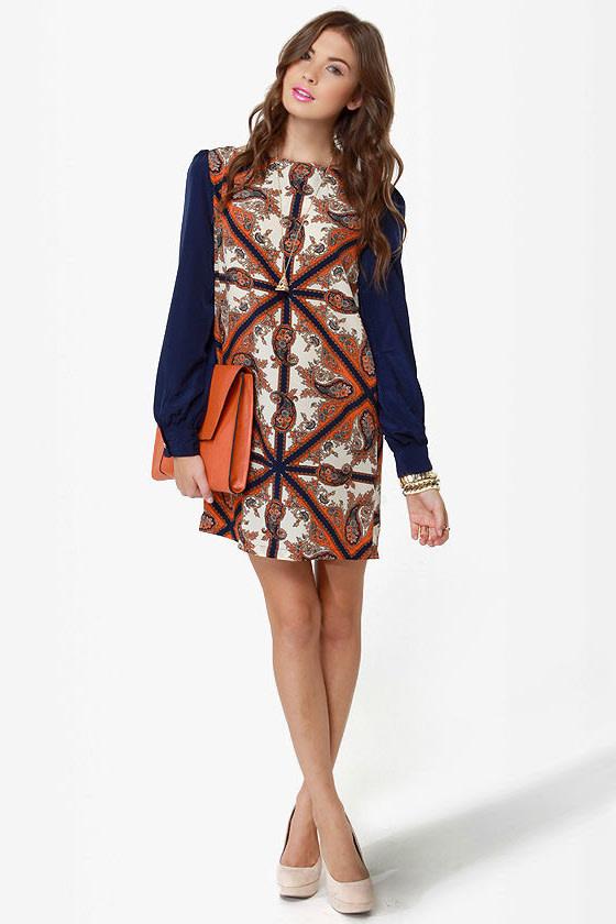 British Invasion Blue Scarf Print Shift Dress