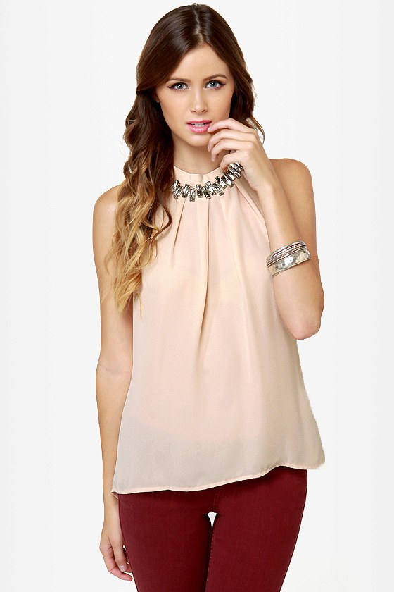 Game of Stones Blush Rhinestone Top at Lulus.com!