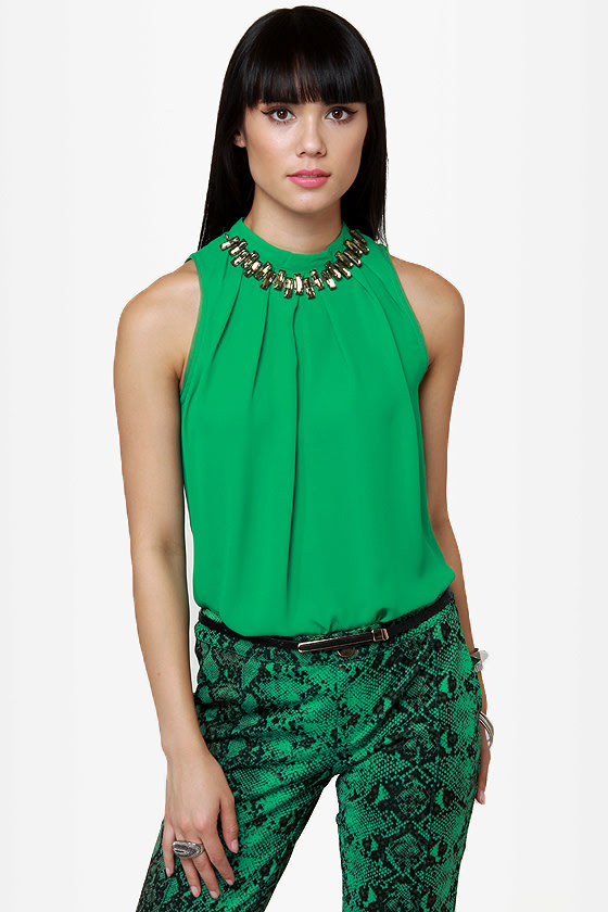 Game of Stones Green Rhinestone Top at Lulus.com!