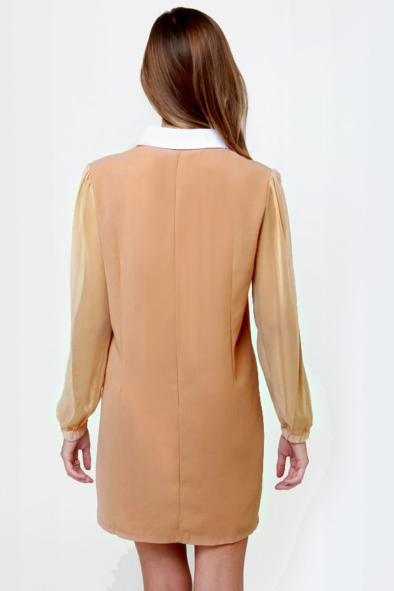 The Mod Couple Beige Shirt Dress at Lulus.com!