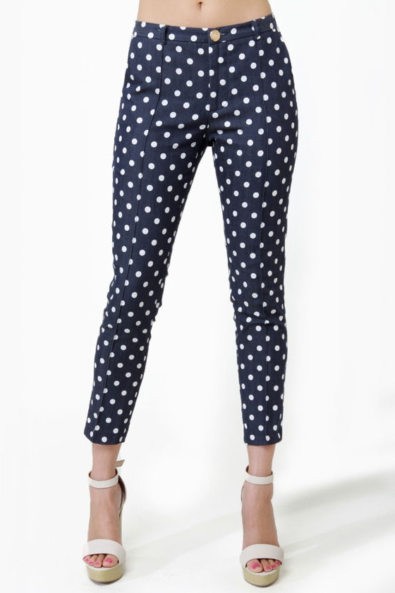 Bumper Cropped Blue Polka Dot Pants at Lulus.com!
