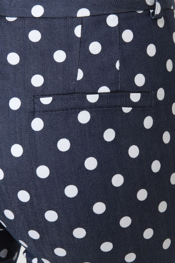 Bumper Cropped Blue Polka Dot Pants