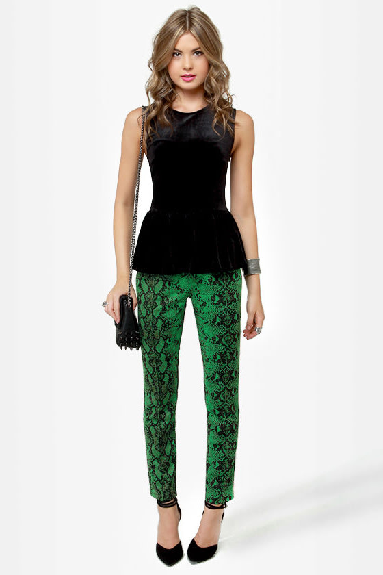 Snake It Till You Make It Green Snakeskin Print Pants
