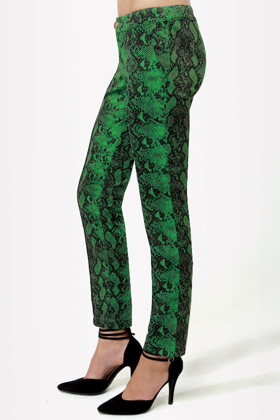 Snake It Till You Make It Green Snakeskin Print Pants at Lulus.com!