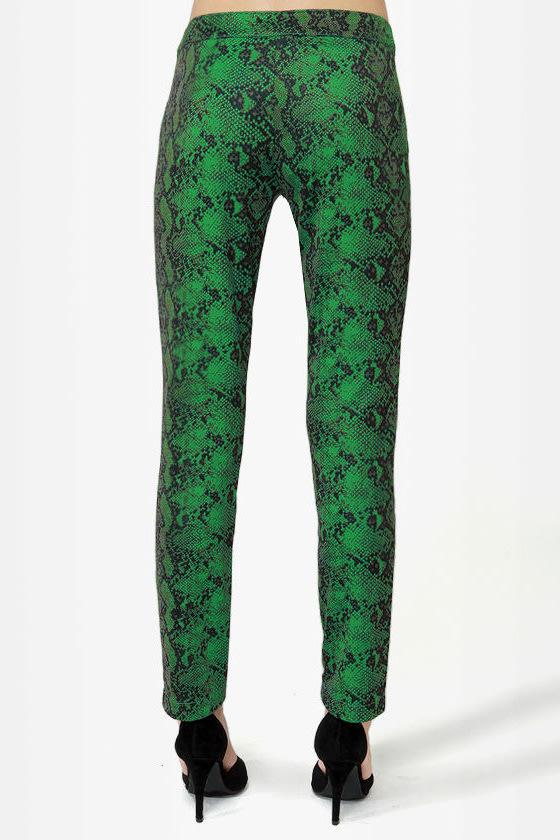 Snake It Till You Make It Green Snakeskin Print Pants