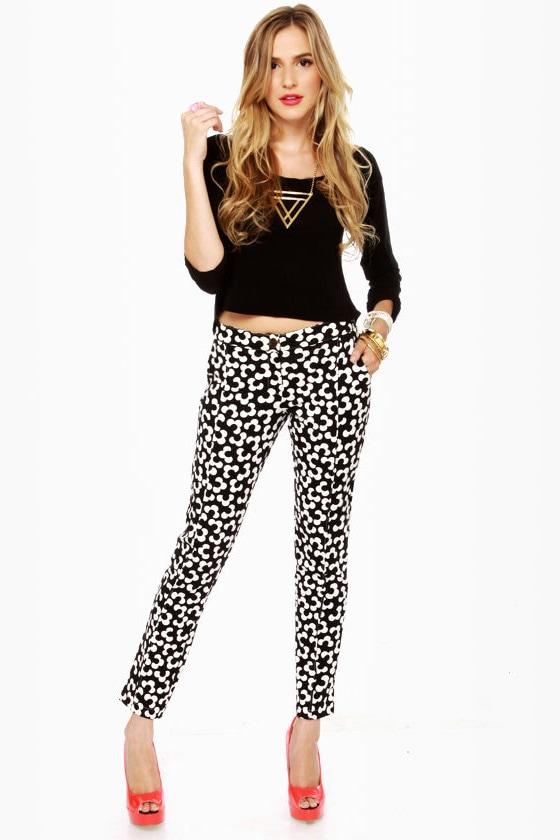 Cute Print Pants Floral Pants Black Pants 42 00 Lulus