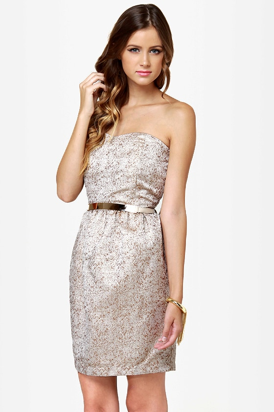 Rock-Paper-Glitters Strapless Gold Dress