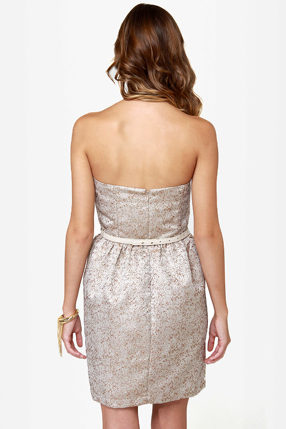 Rock-Paper-Glitters Strapless Gold Dress at Lulus.com!