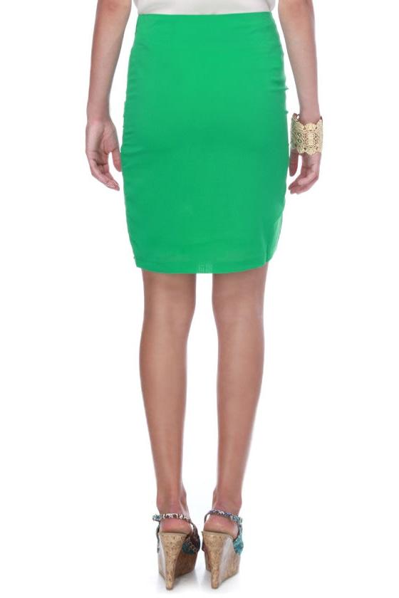 Perfect Sketch Green Pencil Skirt