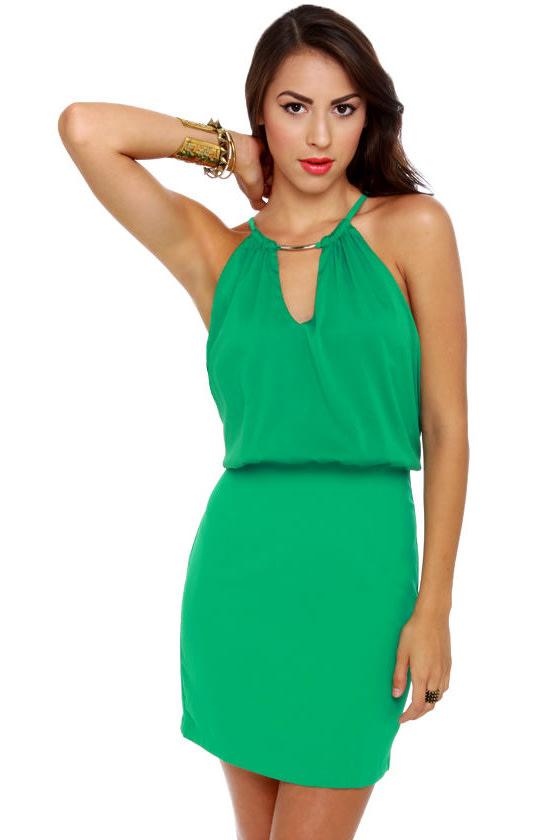 Wild Life Preserved Green Halter Dress