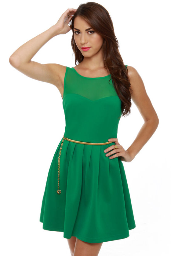 Mesh Start Sleeveless Green Dress