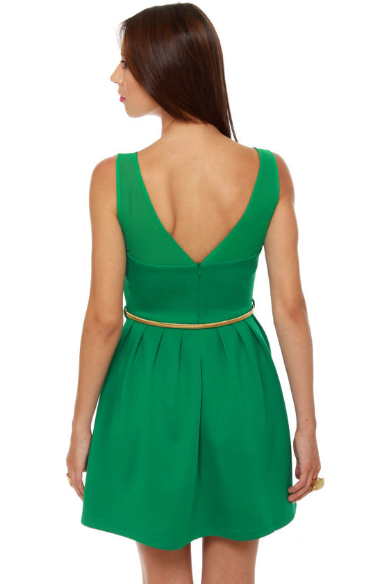Mesh Start Sleeveless Green Dress at Lulus.com!