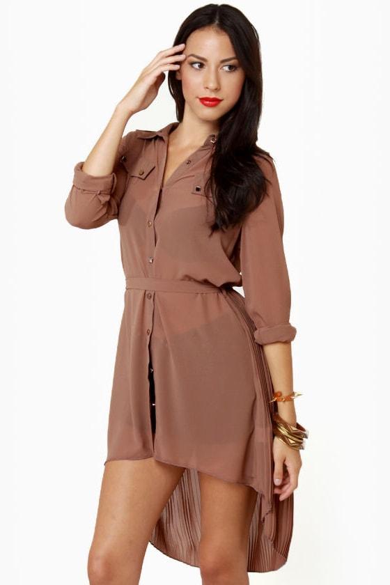 Double Date Sheer Brown Tunic Top
