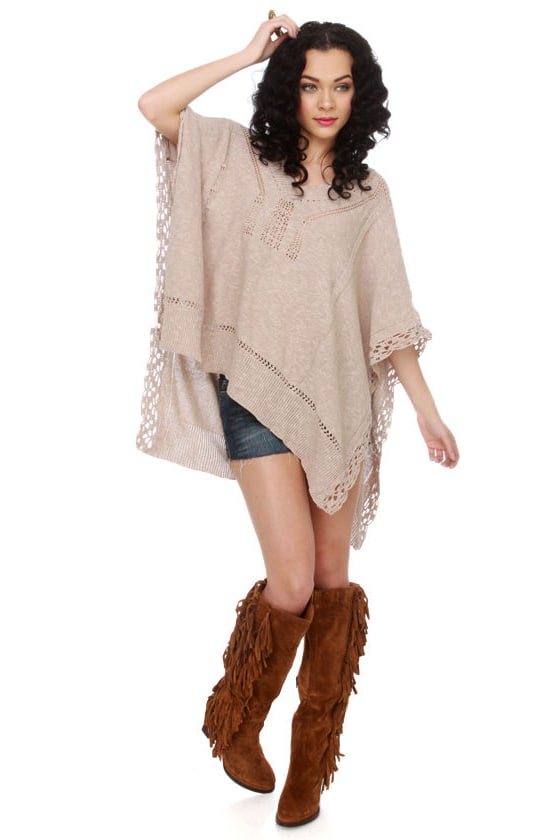 Flossy Fox Beige Poncho Top