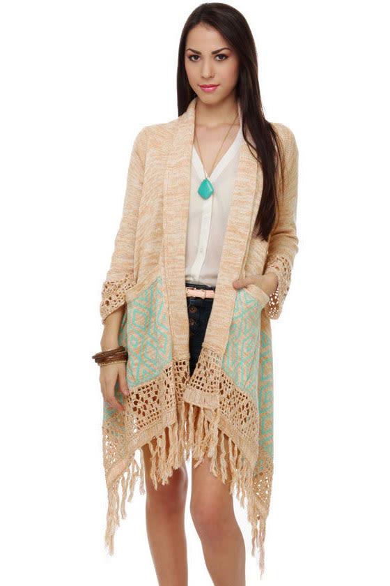 Granola Sunrise Fringe Sweater Wrap