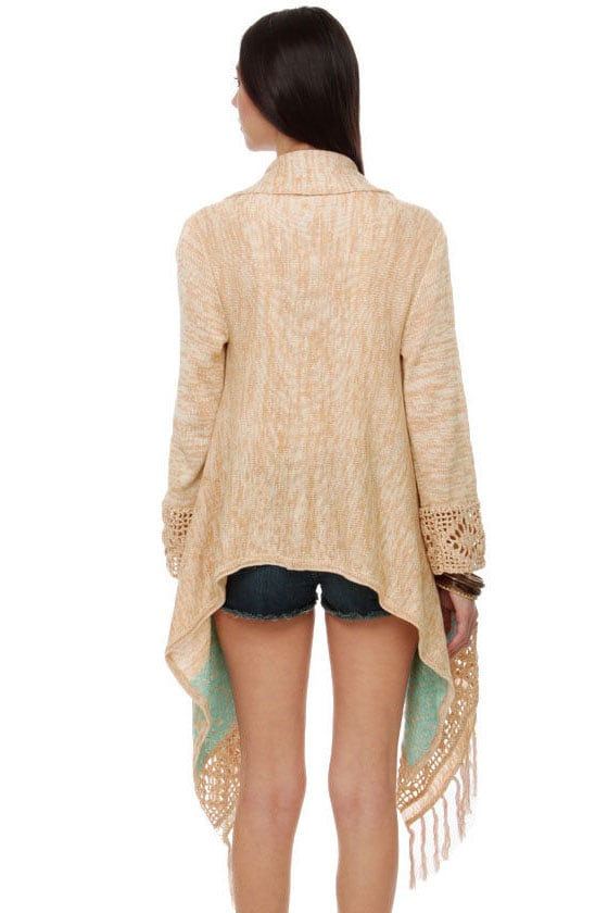 Granola Sunrise Fringe Sweater Wrap