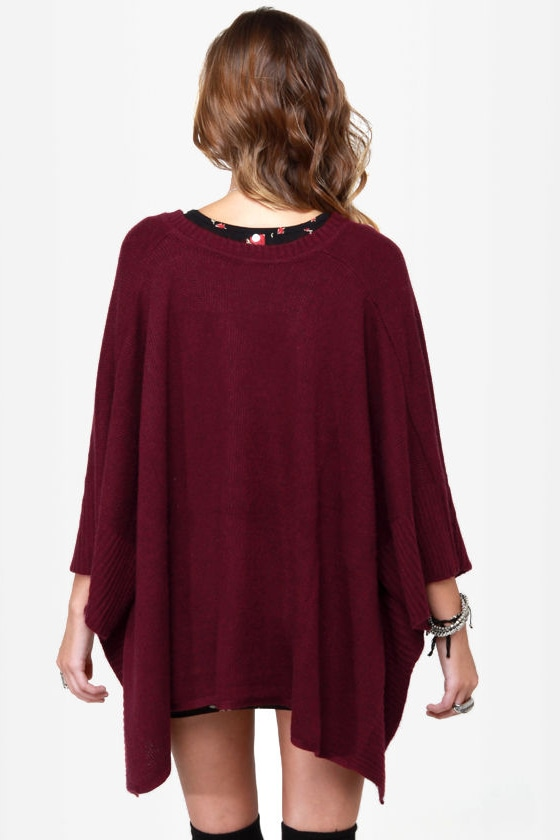 Mixed Berries Burgundy Poncho at Lulus.com!