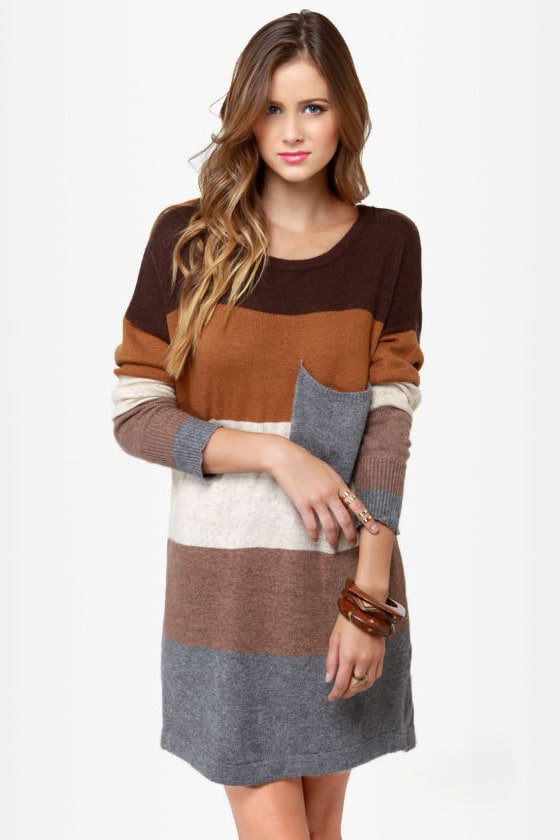 Cozy Oversized Sweater Dress - Color Block Sweater Dress - Brown ...