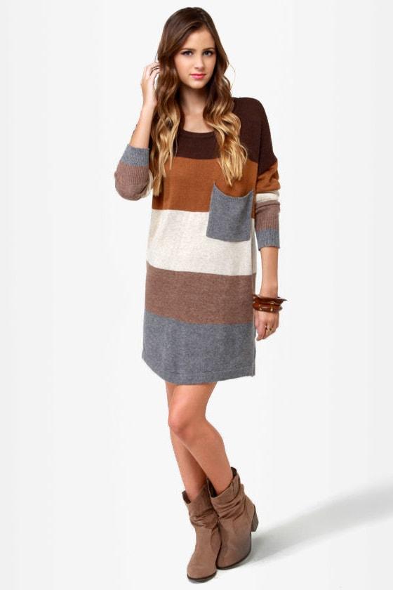 e549e639584 Cozy Oversized Sweater Dress - Color Block Sweater Dress - Brown ...
