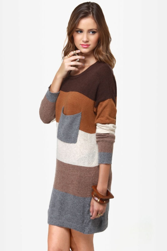 Hot Cocoa Brown Striped Sweater Dress at Lulus.com!
