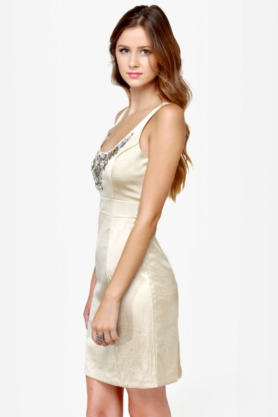 Poppin\\\\\\\\\\\\\\\' Baubles Beaded Gold Dress
