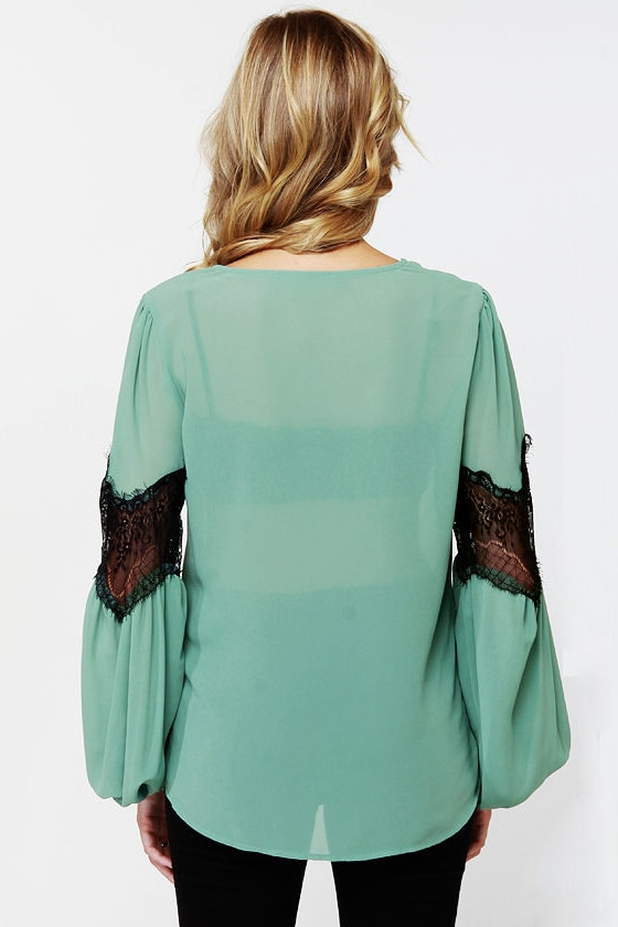 Sage Advised Sage Green Lace Top at Lulus.com!