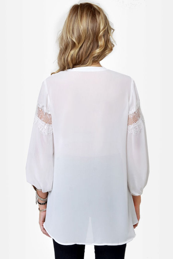 Language of Love White Lace Top