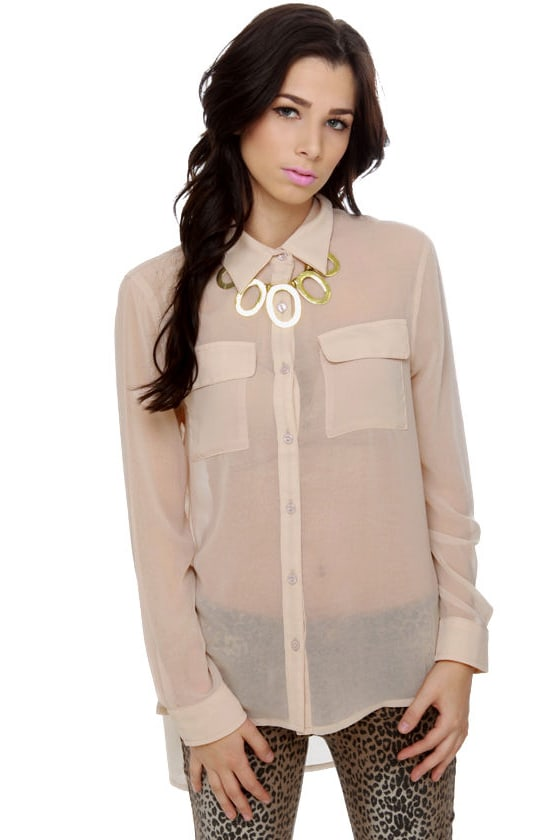 Trivia Night Beige Button-Up Top