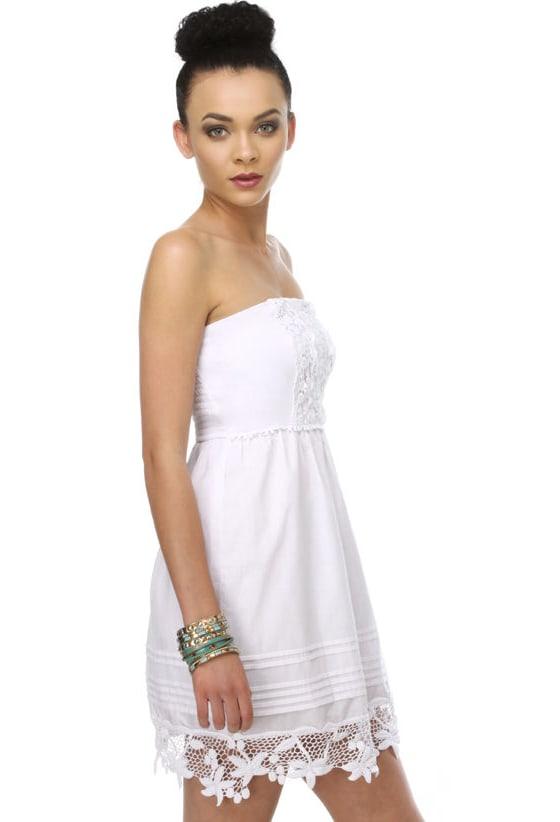 Dear Unicorn Strapless White Dress