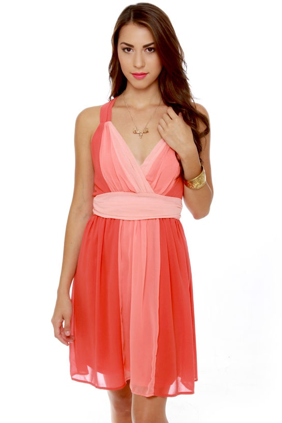 Melon Patch Coral Color Block Dress