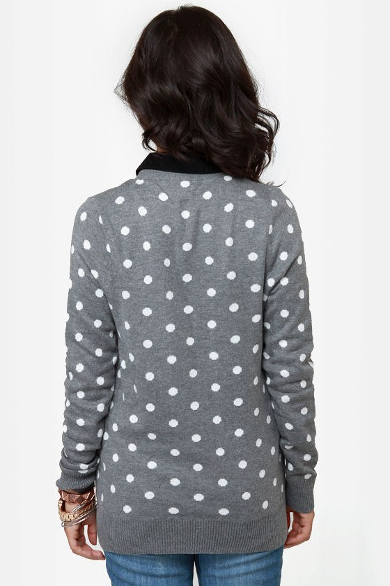 Dot-O-Rama Grey Polka Dot Cardigan Sweater