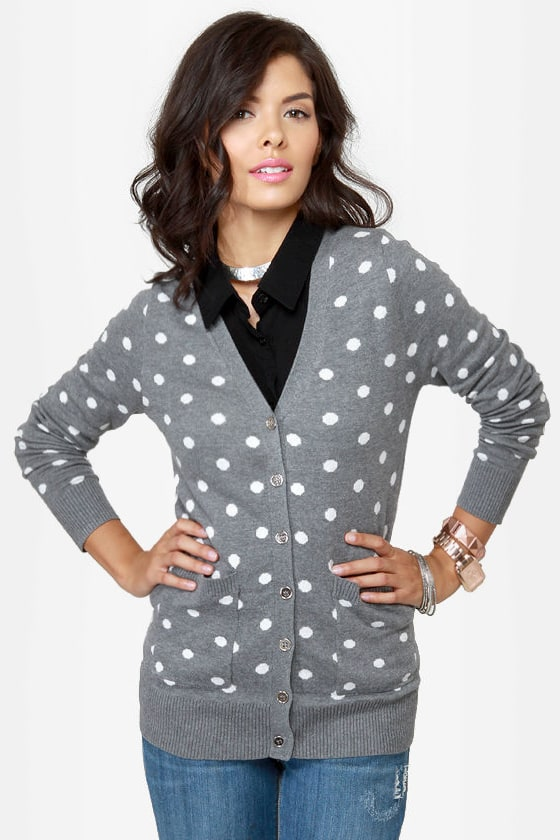Dot-O-Rama Grey Polka Dot Cardigan Sweater at Lulus.com!