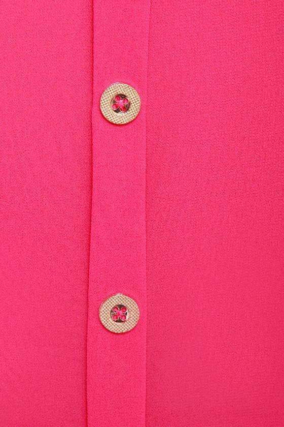 Through the Ruffle Patch Fuchsia Pink Tank Top