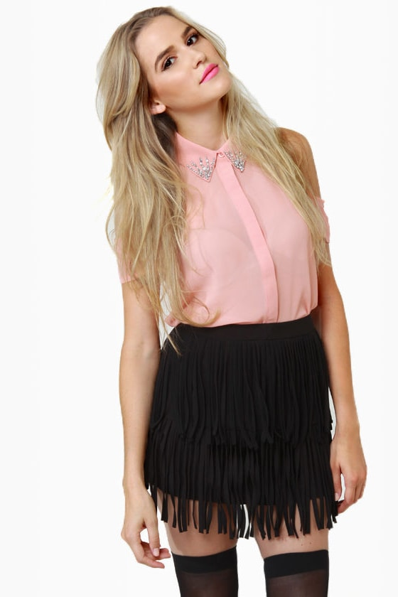 Start Your Fringe-ines! Black Fringe Mini Skirt