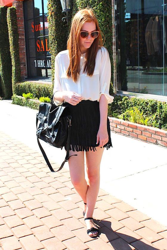 Start Your Fringe-ines! Black Fringe Mini Skirt