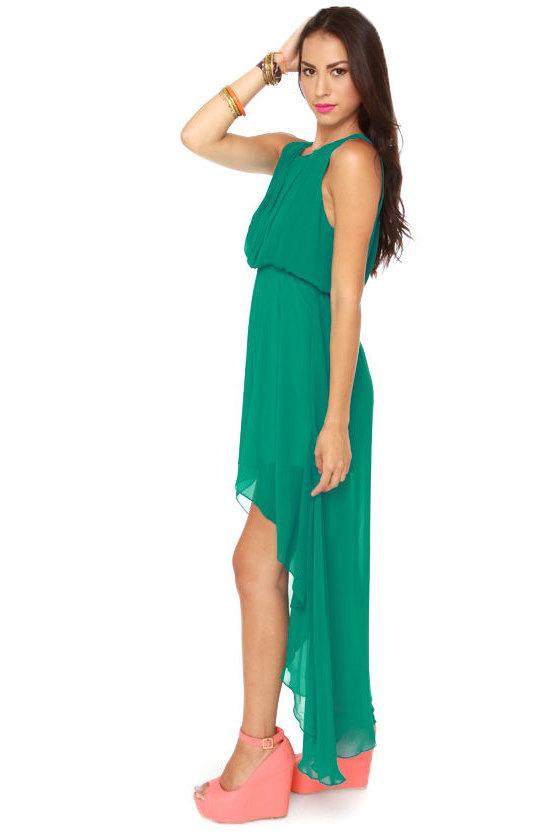Grand Entrance High-Low Green Dress