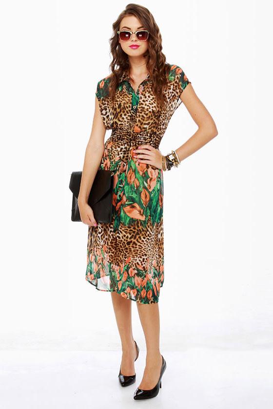 0cb195f7e2 Cute Print Dress - Leopard Print Dress - Floral Dress -  45.00
